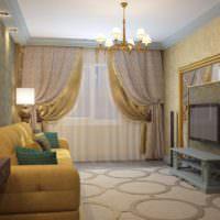 Золотые тона в дизайне гостиной