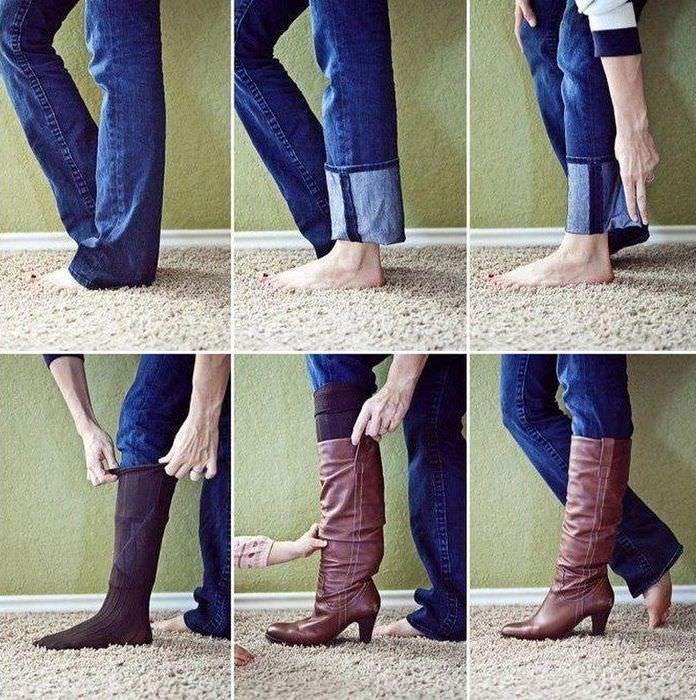 Лайфхак для заправки джинсов в сапоги
