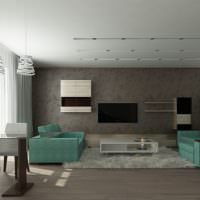 Серая гостиная с диванами мятного окраса