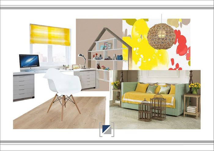 Коллаж интерьера детской комнаты с преобладанием желтого цвета