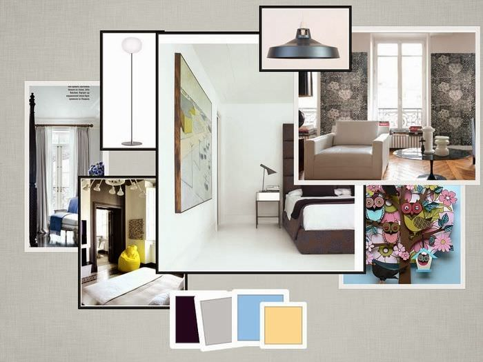 Коллаж интерьера жилой комнаты загородного дома