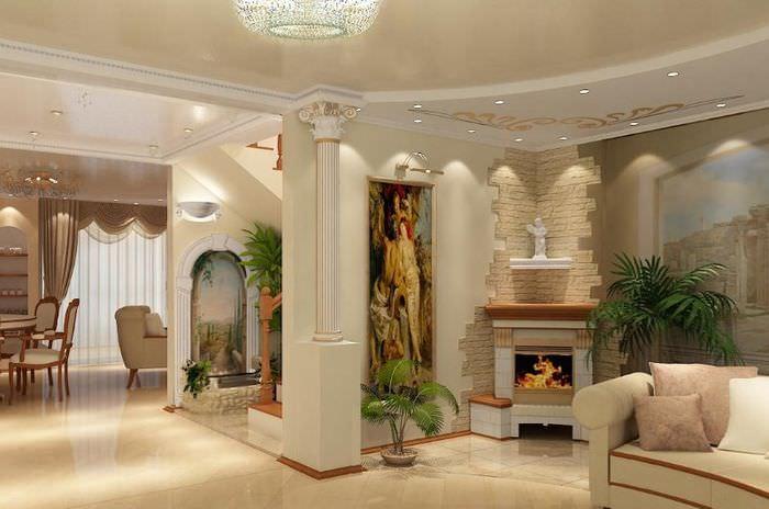 Полиуретановая колонна в стене гостиной с камином
