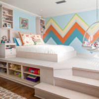 Зонирование детской комнаты с помощью подиума