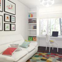 Белый диван в детской комнате