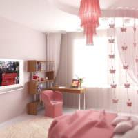 Оттенки розового цвета в оформлении спальни для девочки