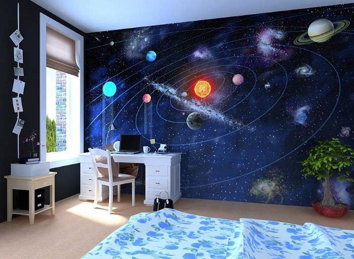 Интерьер детской комнаты в космическом стиле
