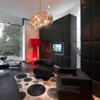 Красный торшер и черная мебель