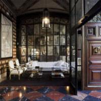 Современная гостиная в ретро стиле