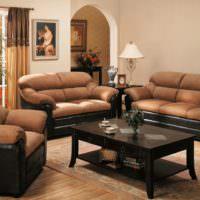 Коричневые подушки дивана на черном основании