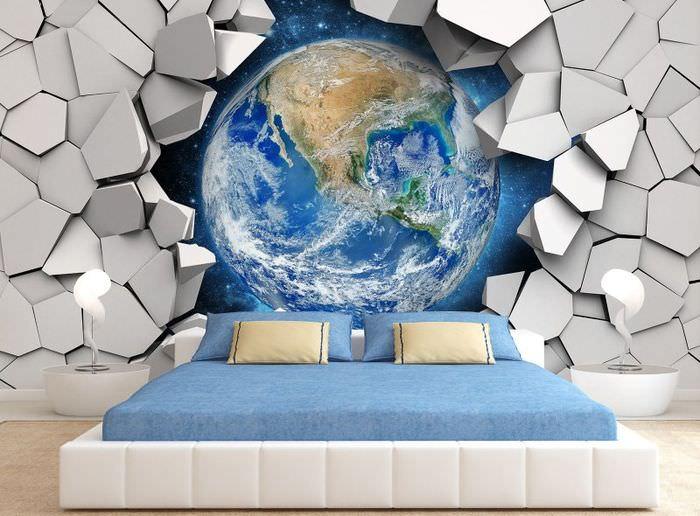 Оформление стены спальни фотообоями в космической тематике