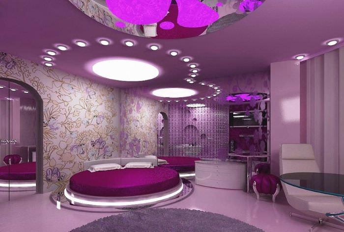 Интерьер спальни в космическом стиле в фиолетовых оттенках