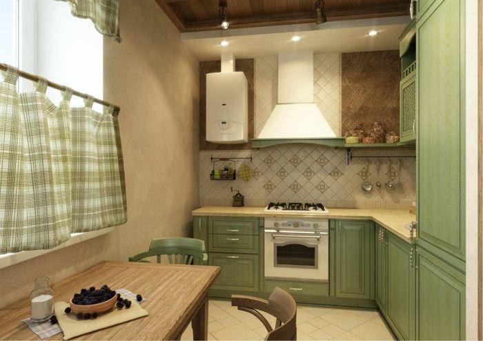 Интерьер современной кухни в стиле кантри с газовым котлом