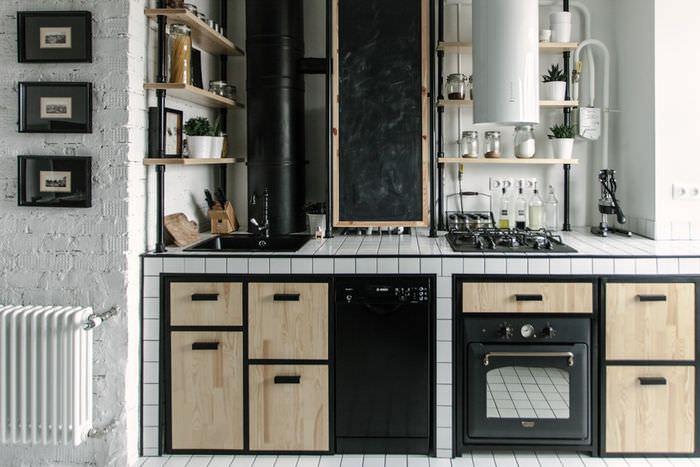 Интерьер кухни в стиле лофт с газовым котлом