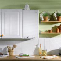 Дизайн интерьера кухни с газовым котлом на стене
