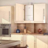 Дизайн кухни с газовой колонкой внутри шкафчика из ДСП