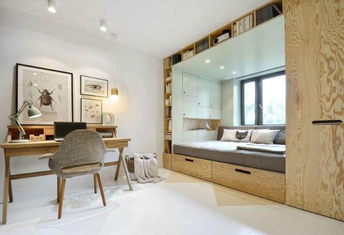 Кровать в детской, встроенная в корпусную мебель