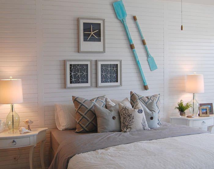 Дизайн спального помещения в морской стилистике