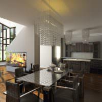 Серый интерьер кухни частного дома