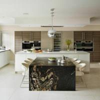 Зонирование пространства кухни островом