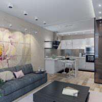 Декорирование стены над диваном модульной картиной