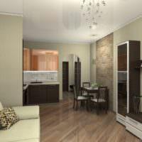 Интерьер современной кухни-гостиной с корпусной мебелью