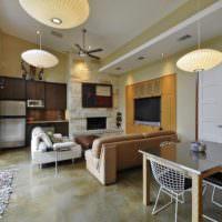 Кухня гостиная с панорамными окнами в частном