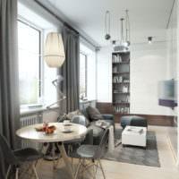 Интерьер узкой кухни гостиной