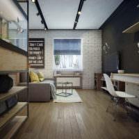 Кирпичная стена в комнате индустриального стиля