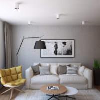 Оливковое кресло в интерьере кухни-гостиной
