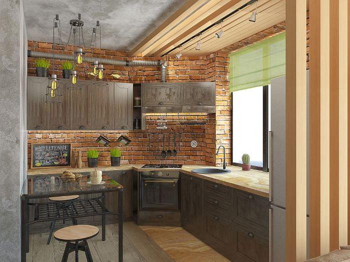 Дизайн кухни в стиле лофт с мойкой вместо подоконника
