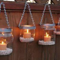 Декоративные подсвечники из стеклянных банок