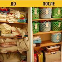 Хранение вещей в пластиковых корзинах