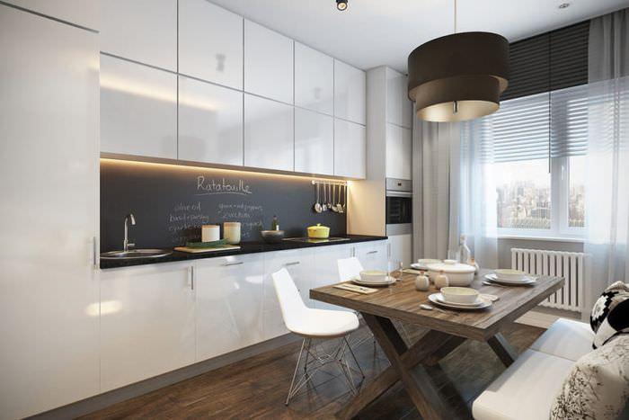 Линейная планировка кухни-гостиной площадью 16 квадратов