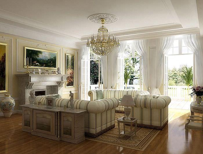 Мягкая мебель в интерьере классической гостиной