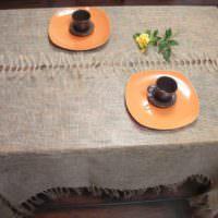 Скатерть в деревенском стиле на столе для чаепития