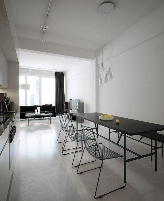 Столовая зона на кухне в стиле минимализма