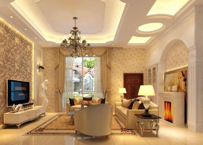 Подсветка многоуровневого потолка в гостиной