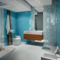 Интерьер ванной с голубой мозаикой