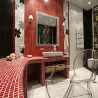 Отделка столешницы в ванной мозаикой красного цвета