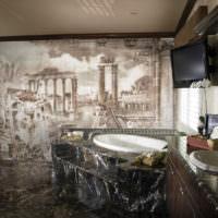 Мозаичная картина в дизайне ванной