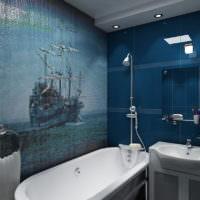 Морская тема в оформлении ванной мозаикой