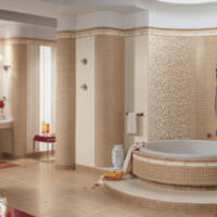 Отделка стен ванной мозаикой из керамики
