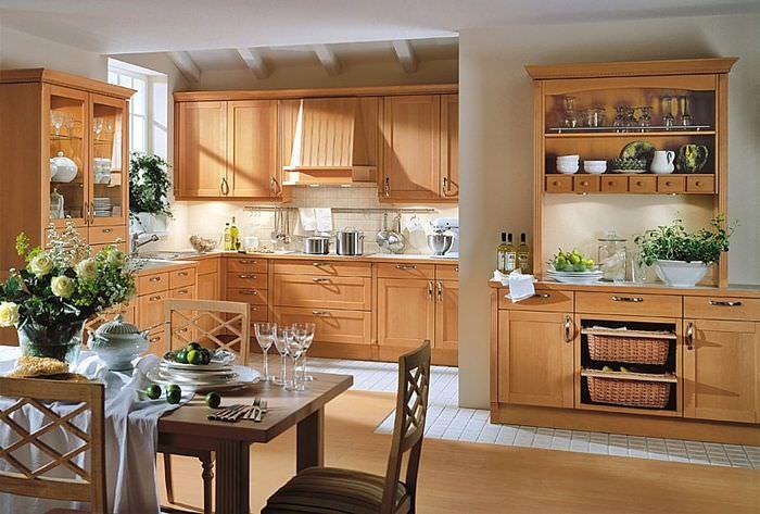Интерьер кухни-гостиной в стиле немецкого кантри