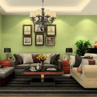 Черный ковер в гостиной с салатовыми стенами