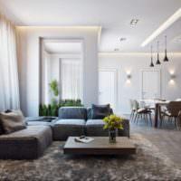 Просторная кухня-гостиная в частном доме