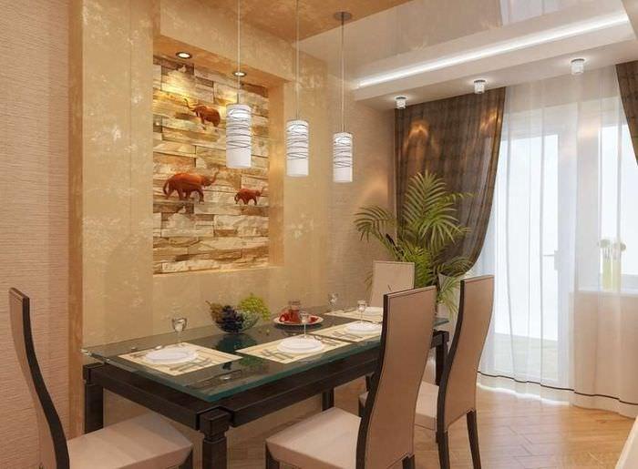 Оформление стены над обеденным столом с помощью декоративной ниши