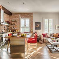 Кухня в стиле лофт с мягкой мебелью