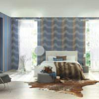 Современная спальня с голубыми обоями