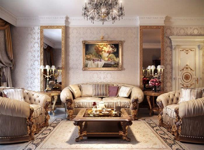Оформление стен гостиной обоями в классическом стиле