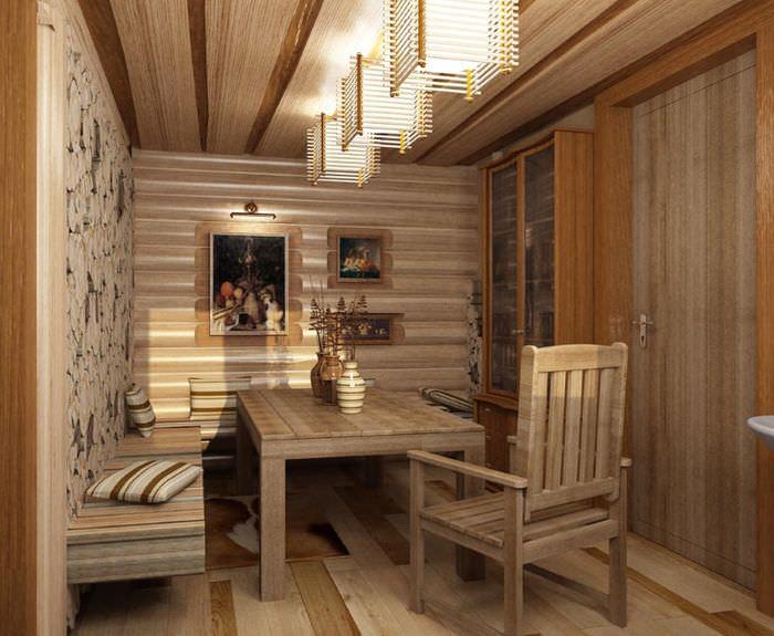 Современные светильники в комнате отдыха русской бани
